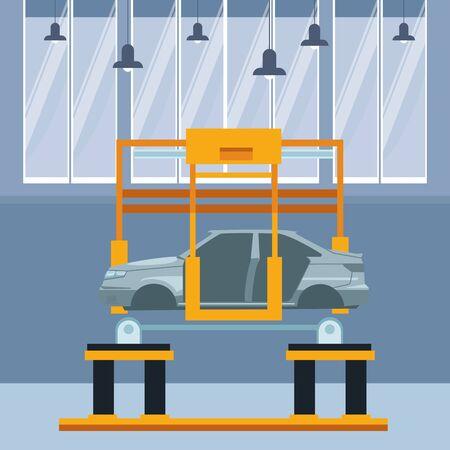 industry car manufacturing assembly car cartoon vector illustration graphic design Illusztráció