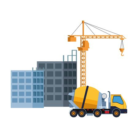 Construction vehicle cement truck with crane and building vector illustration graphic design