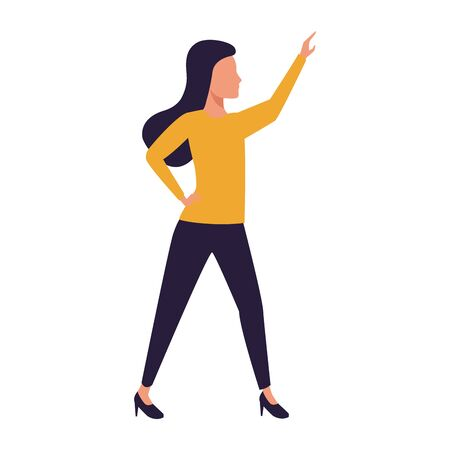 avatar woman with arm up icon over white background, vector illustration