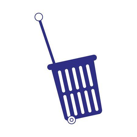 shopping rolling basket icon over white background, vector illustration Ilustracja