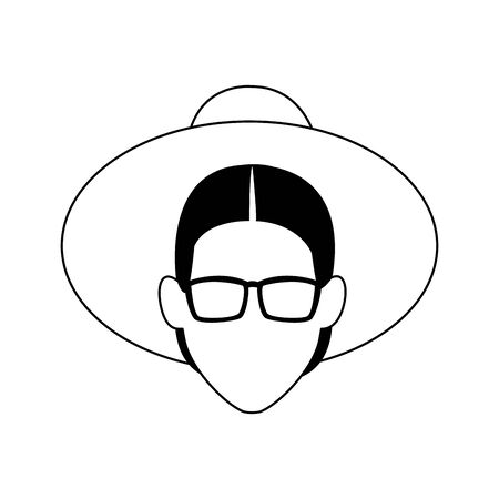 avatar old woman with sunglasses and hat icon over white background, vector illustration