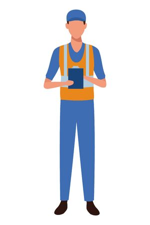 industry manufacturing worker with notebook cartoon vector illustration graphic design