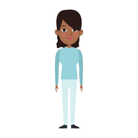 afro woman standing icon over white background, vector illustration