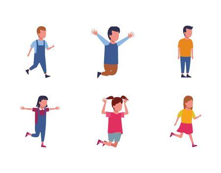 set of avatar kids having fun icon over white background, vector illustration
