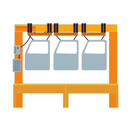 industry car manufacturing assembly cartoon vector illustration graphic design Illusztráció