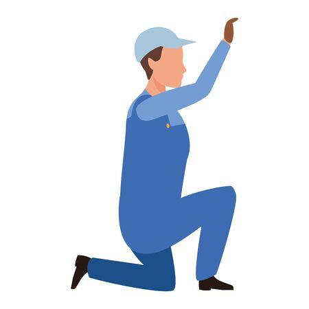 industry manufacturing worker cartoon vector illustration graphic design