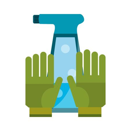 Gardening tools water can and gloves vector illustration graphic design