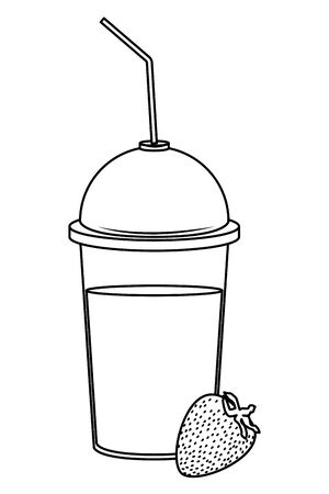 tropical fruit and smoothie drink with strawberry icon cartoon in black and white vector illustration graphic design Illusztráció