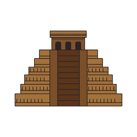 Mayan pyramid icon over white background, colorful design. vector illustration Ilustração