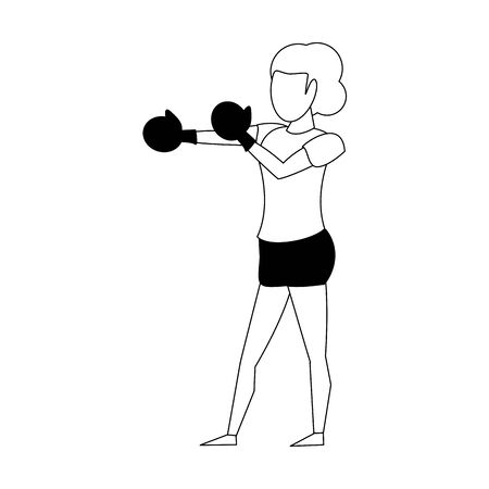Fitness woman training boxing with gloves isolated vector illustration graphic design Ilustrace