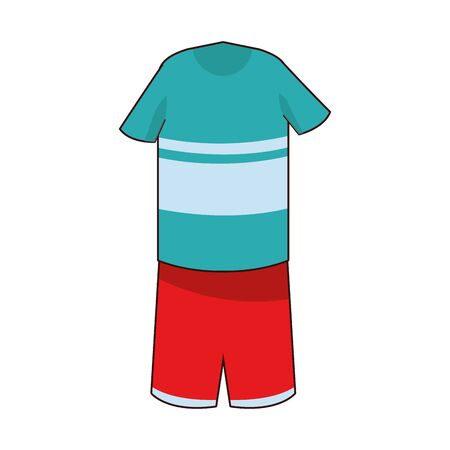 boy outfit of t-shirt and short pants icon cartoon isolated vector illustration graphic design