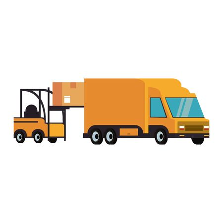 Forklift loading box to delivery van isolated vector illustration