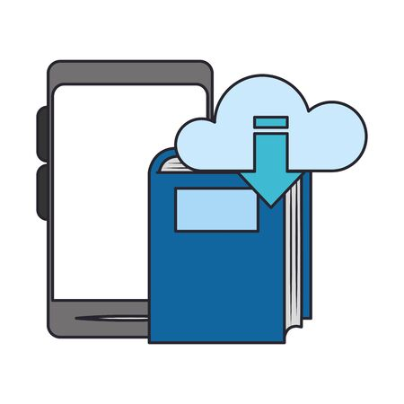 smartphone with cloud storage and book over white background, vector illustration Illustration