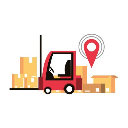 logistic and delivery shipping with forklift and merchandise cardboard boxes with gps location tracing cartoon vector illustration graphic design Ilustracja