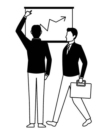 business business people businessman back view pointing a data chart and businessman carrying a briefcase avatar cartoon character in black and white
