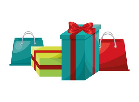 shopping bags and gifts marketing icon vector illustration design