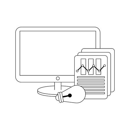 computer screen technology hardware working in business idea project cartoon vector illustration graphic design Illustration