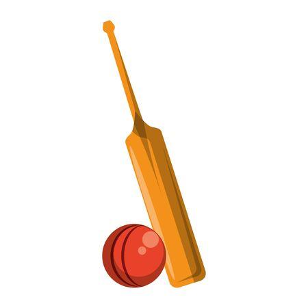 cricket equiment elements bat cricket and ball icon cartoon vector illustration graphic design