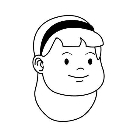 cartoon girl with headband icon over white background, vector illustration Ilustração