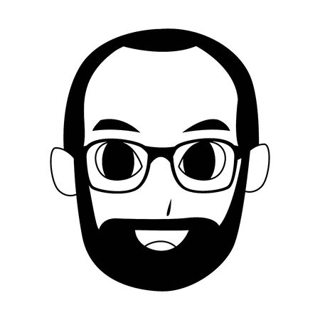 old man face with glasses and beard icon over white background, vector illustration