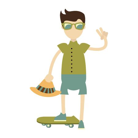 hipster boy with green skateboard and hat isolated symbol Vector design illustration