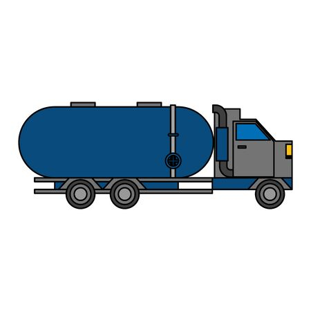 truck with tank shipping logistic transport cartoon vector illustration graphic design Ilustracja