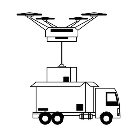 logistic and delivery shipping with drone technology transport cartoon vector illustration graphic design