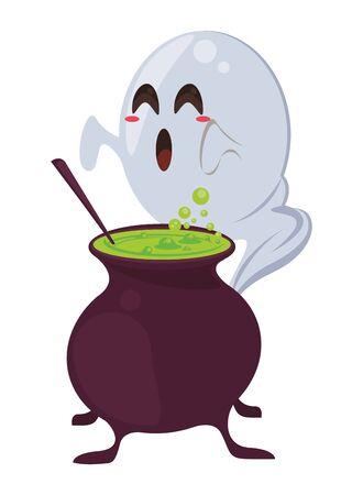 halloween witch cauldron with ghost vector illustration design Ilustração