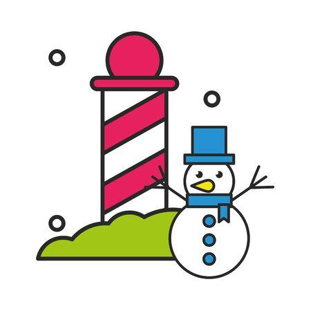 christmas spiral post decoration icon vector illustration design