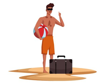 Young man in summer time with beach ball and suitcase cartoon vector illustration graphic design Illusztráció