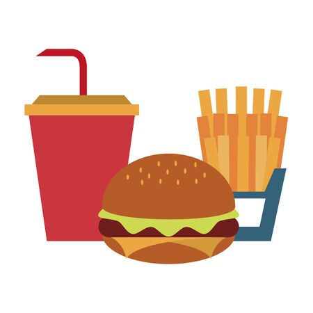 restaurant food and cuisine hamburger, french fries and soda cup icon cartoons vector illustration graphic design