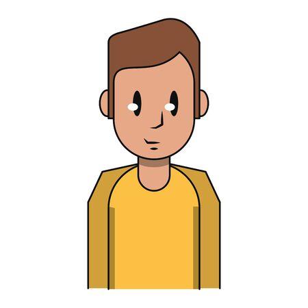 Young man smiling profile cartoon vector illustration graphic design