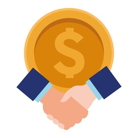 big coin and hand shaking with business sleeve icon cartoon