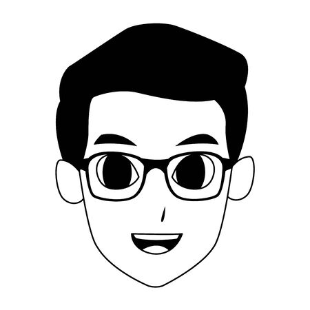 man with glasses face cartoon icon over white background, vector illustration