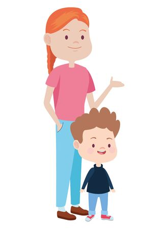 Family single mother playing and smiling with son cartoon ,vector illustration graphic design.