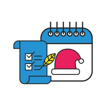 merry christmas calendar with santa claus hat vector illustration design