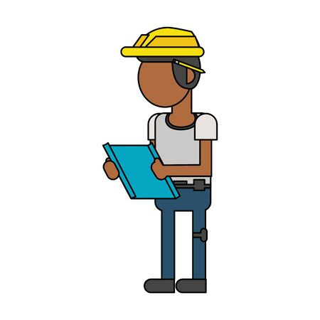 Construction worker smiling and holding clipboard cartoon isolated vector illustration graphic design