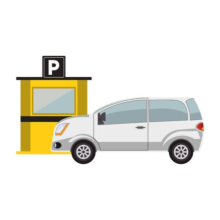 parking toll booth and car over white background, vector illustration