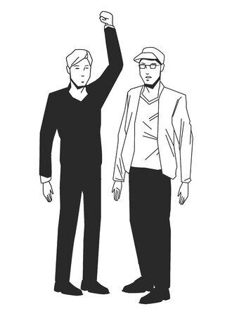social activity public protest man protester with vector cartoon character black white vector illustrtion graphic design Vektoros illusztráció