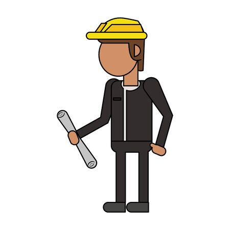 Architect with helmet holding construction plans cartoon isolated vector illustration graphic design