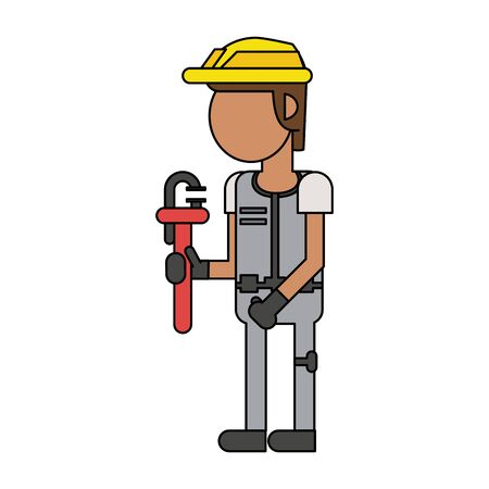 Construction worker smiling with wrench cartoon isolated vector illustration graphic design