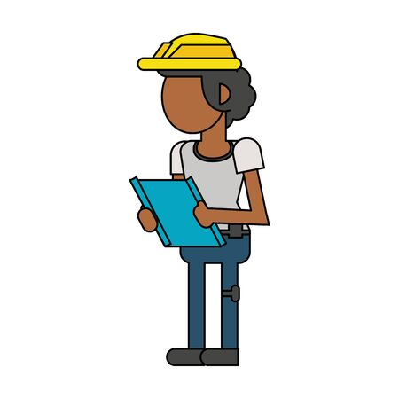 Construction worker smiling with clipboard cartoon isolated vector illustration graphic design Ilustração