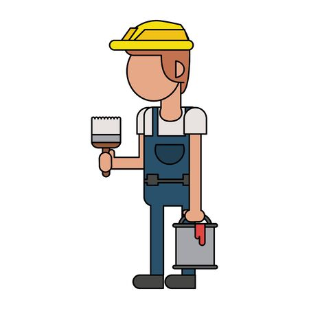 Construction worker smiling with paint bucket and brush cartoon isolated vector illustration graphic design