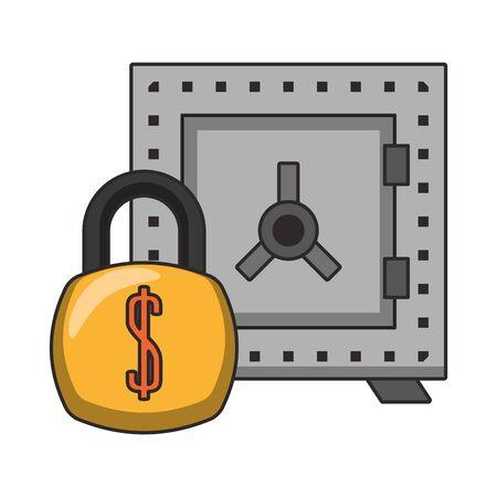 Strongbox and padlock money symbols vector illustration