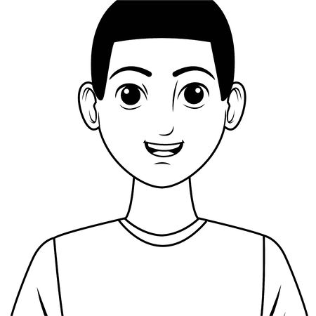 young afroamerican man avatar cartoon character in black and white vector illustration graphic design