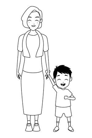 Family grandmothertaking care of grandson cartoon