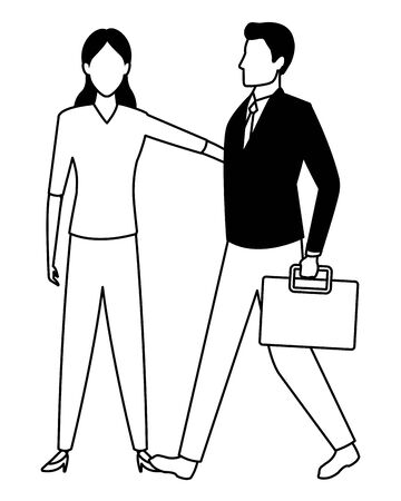 business business people businessman carrying a briefcase avatar cartoon character in black and white