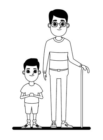 family avatar grandfather with glasses and cane next to a child profile picture cartoon character portrait in black and white vector illustration graphic design 일러스트