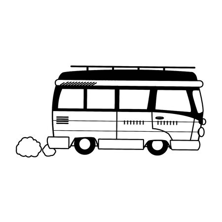classic travel van icon over white background, black and white design. vector illustration