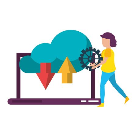 laptop mobile technology hardware uploading and downloading information to cloud, user support cartoon vector illustration graphic design